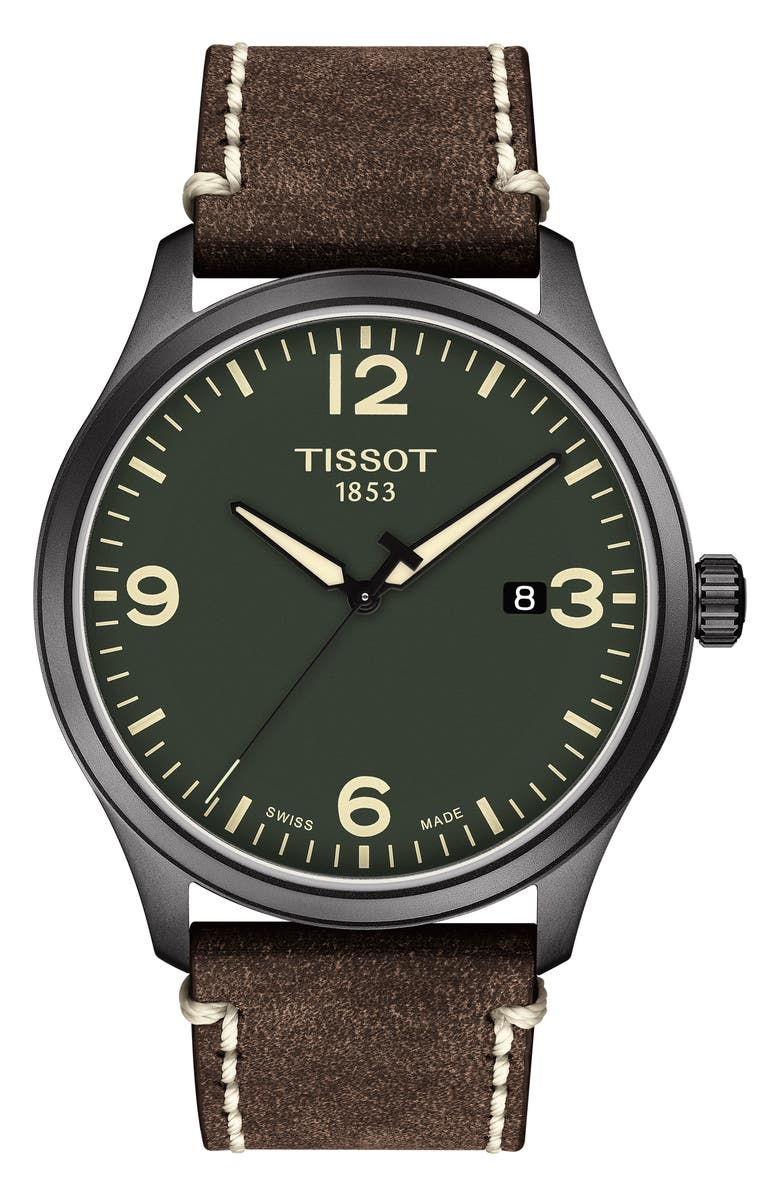 TISSOT Gent XL Classic Leather Strap Watch, 42mm, Main, color, BROWN/ GREEN/ GUNMETAL