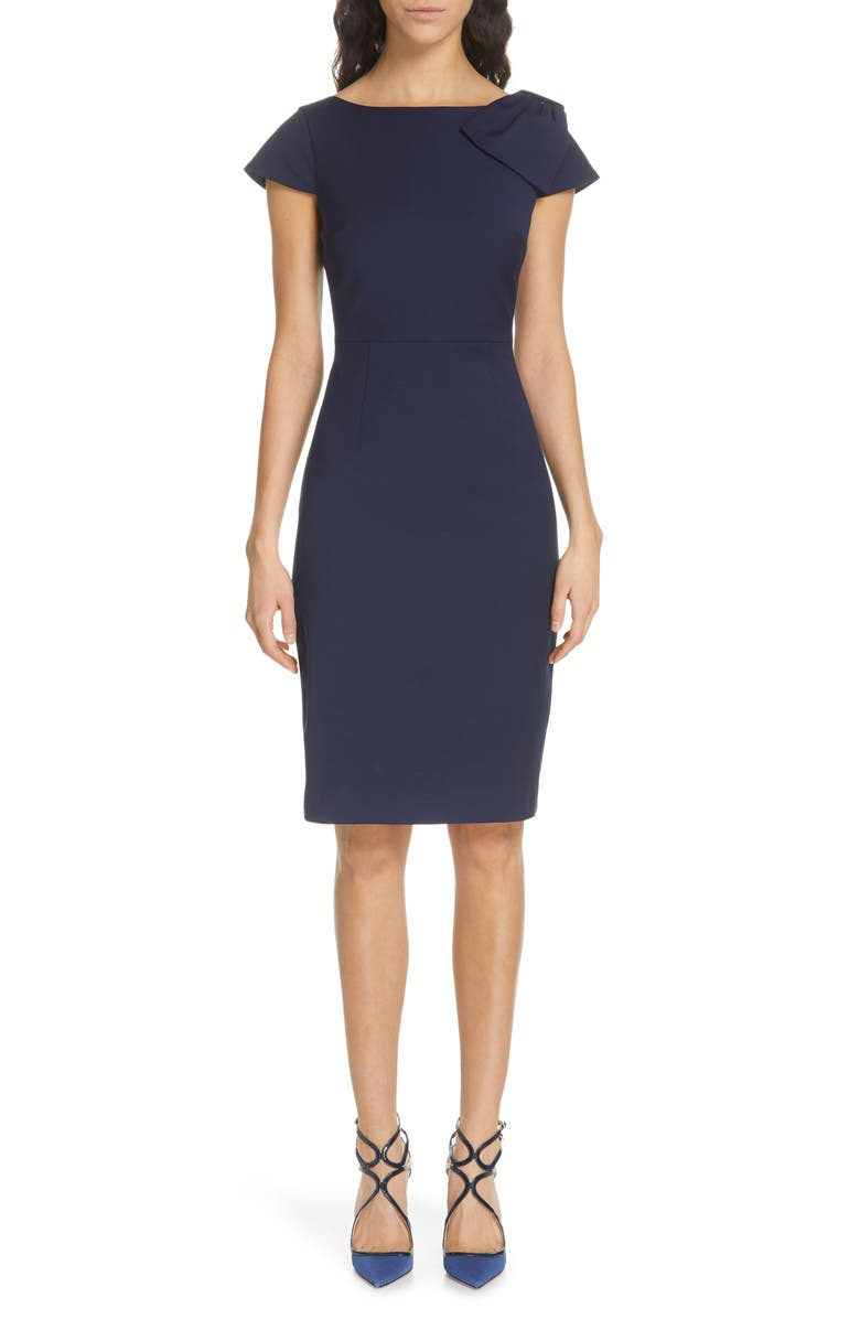 TED BAKER LONDON Zameldd Bow Detail Sheath Dress, Main, color, NAVY
