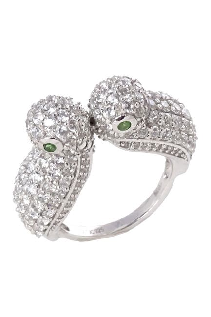 Image of Savvy Cie Sterling Silver White Zircon & Gem Lovers Ring
