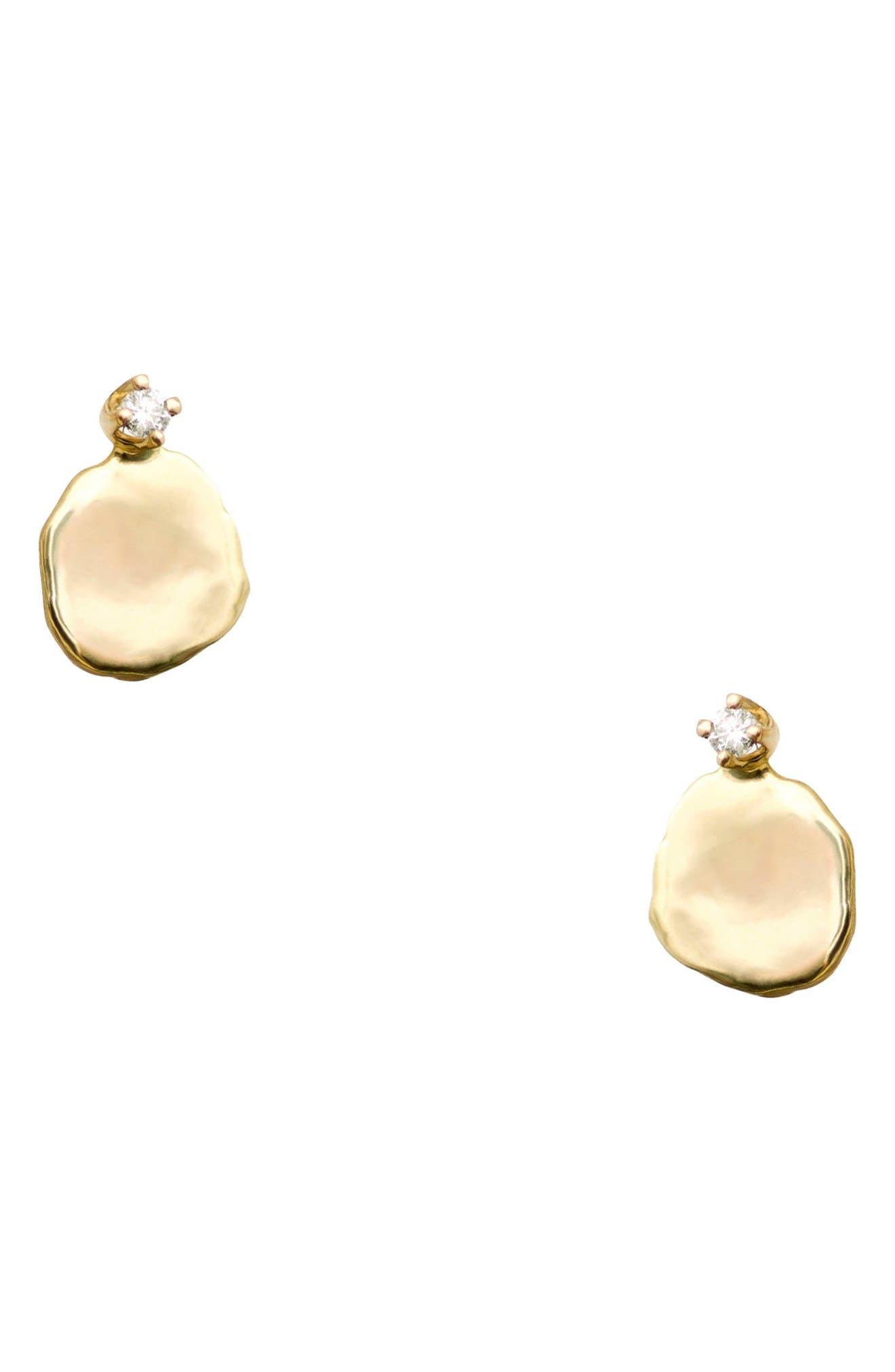 Medium Disc Stud Earrings, Main, color, 14KT GOLD