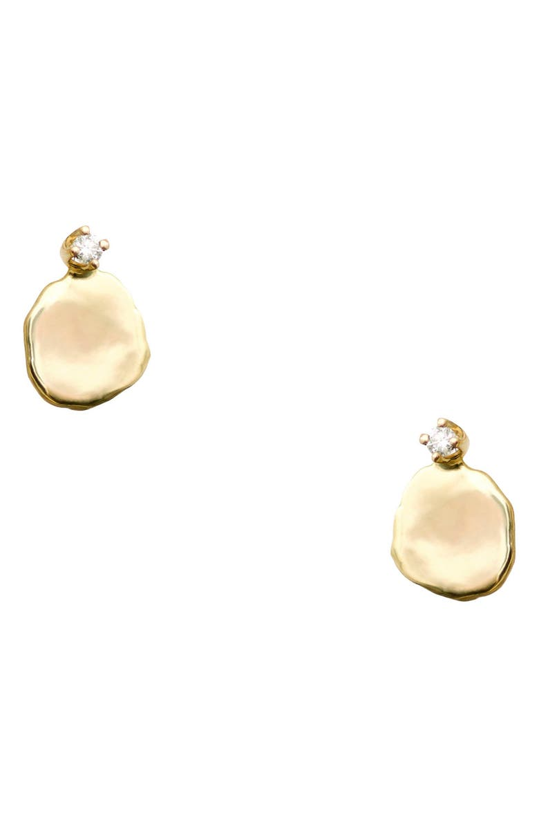 WWAKE Medium Disc Stud Earrings, Main, color, 14KT GOLD