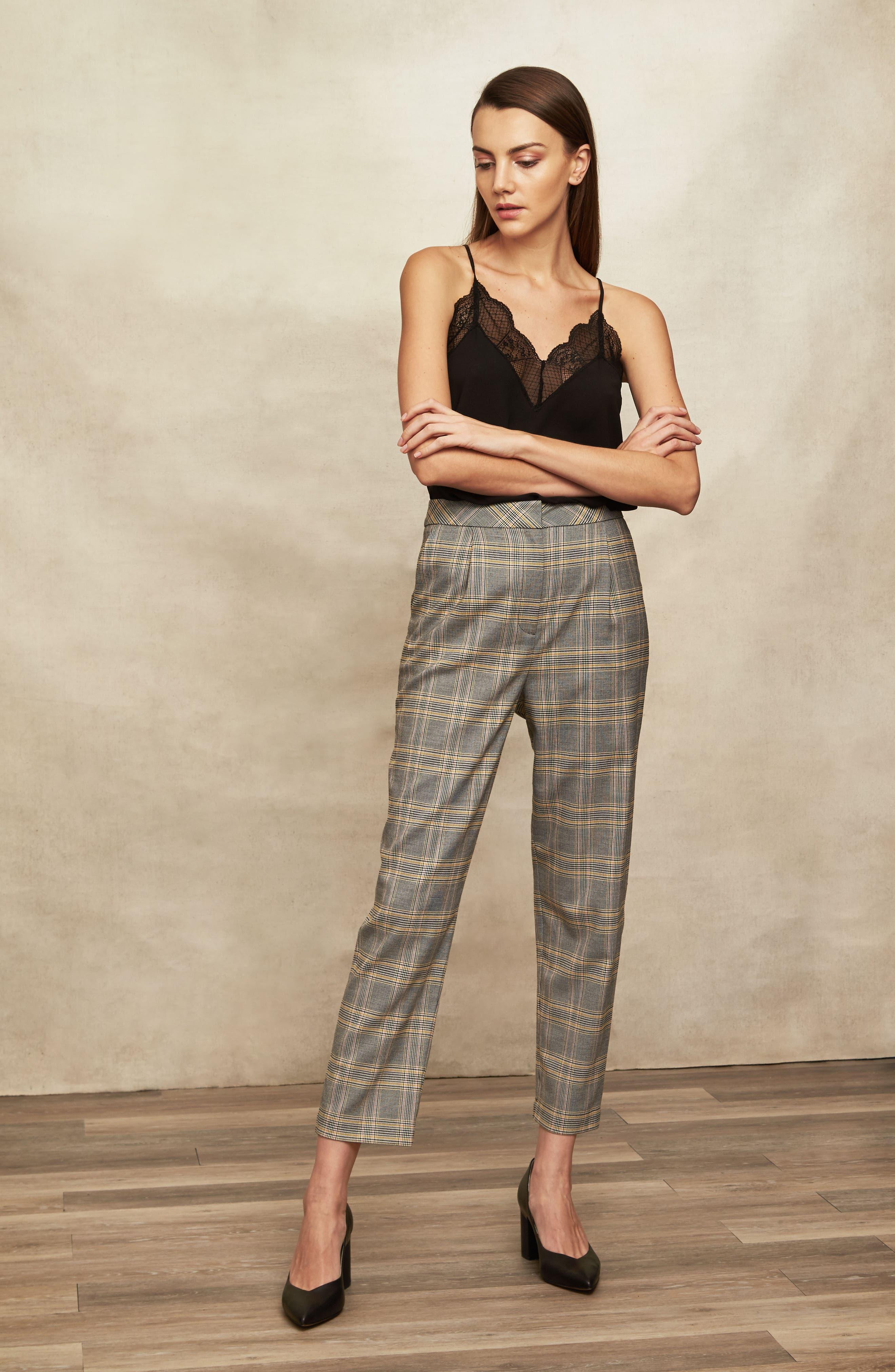 ,                             Menswear Plaid Taper Ankle Pants,                             Alternate thumbnail 3, color,                             RICH BLACK