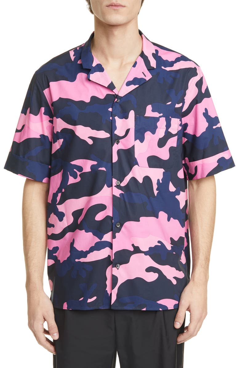 VALENTINO Camo Short Sleeve Button-Up Camp Shirt, Main, color, PINK/ NAVY