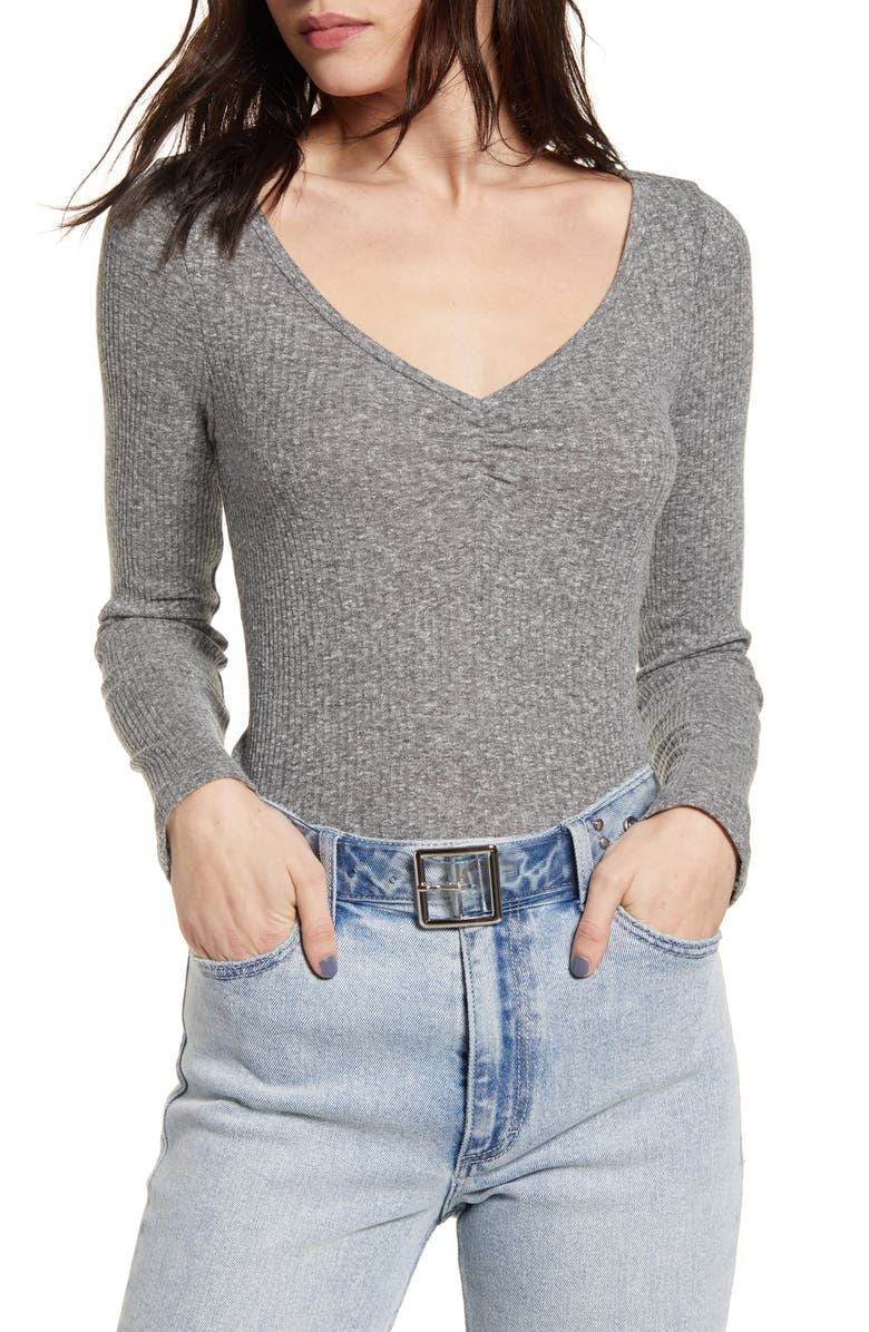 BP. Cinch Front Ribbed Tee, Main, color, GREY CLOUDY HEATHER