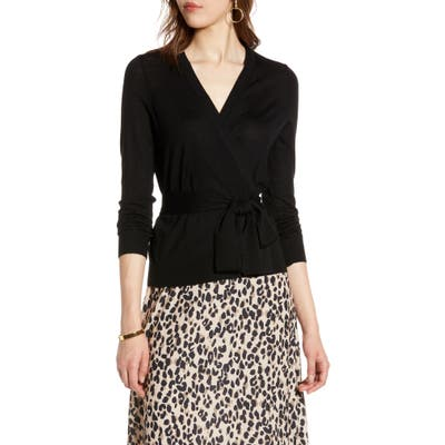 Plus Size Halogen Tie Waist Cardigan, Black