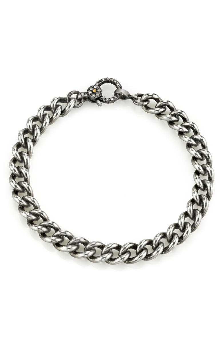 SHERYL LOWE Pavé Diamond Chain Bracelet, Main, color, SILVER