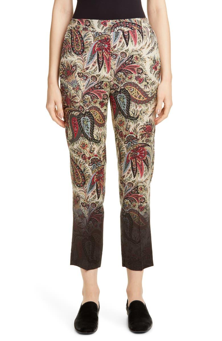 ETRO Dégradé Paisley Print Wool Crop Pants, Main, color, MULTI