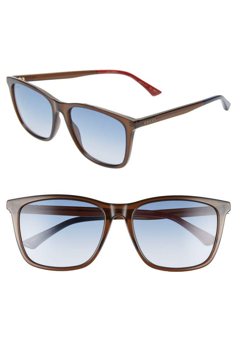 GUCCI 58mm Square Sunglasses, Main, color, TRANSPARENT OLIVE