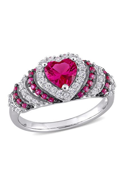 Image of Delmar Black Rhodium Plated Sterling Silver Heart Shape Created Ruby & Created White Sapphire Ring