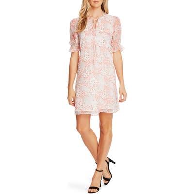 Cece Ditsy Blossom Puff Sleeve Chiffon Dress, Coral