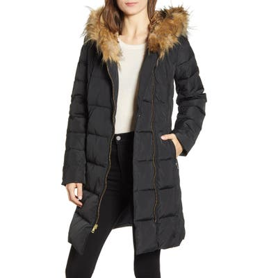 Cole Haan Feather & Down Puffer Jacket With Faux Fur Trim, Black