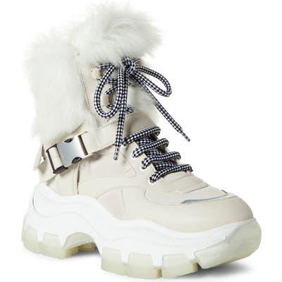 Prada Platform Boot With Genuine Shearling Lining, Beige