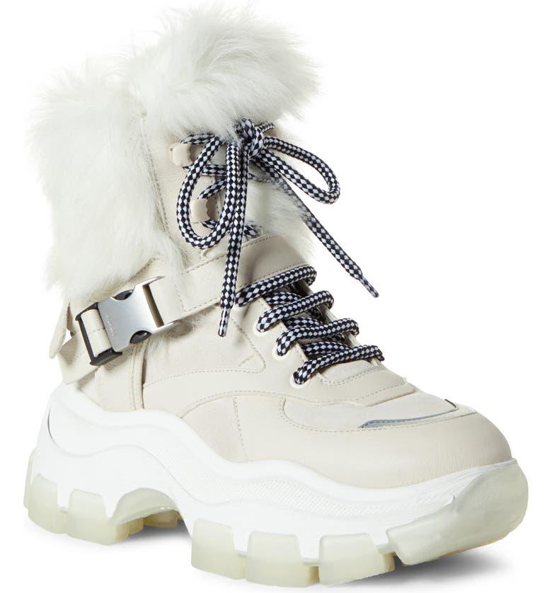 PRADA Platform Boot with Genuine Shearling Lining, Main, color, TALCO