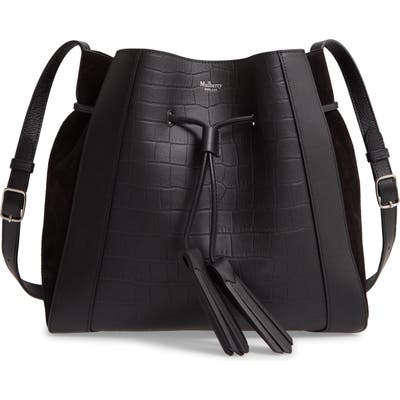 Mulberry Small Millie Matte Croc Embossed Leather Tote - Black