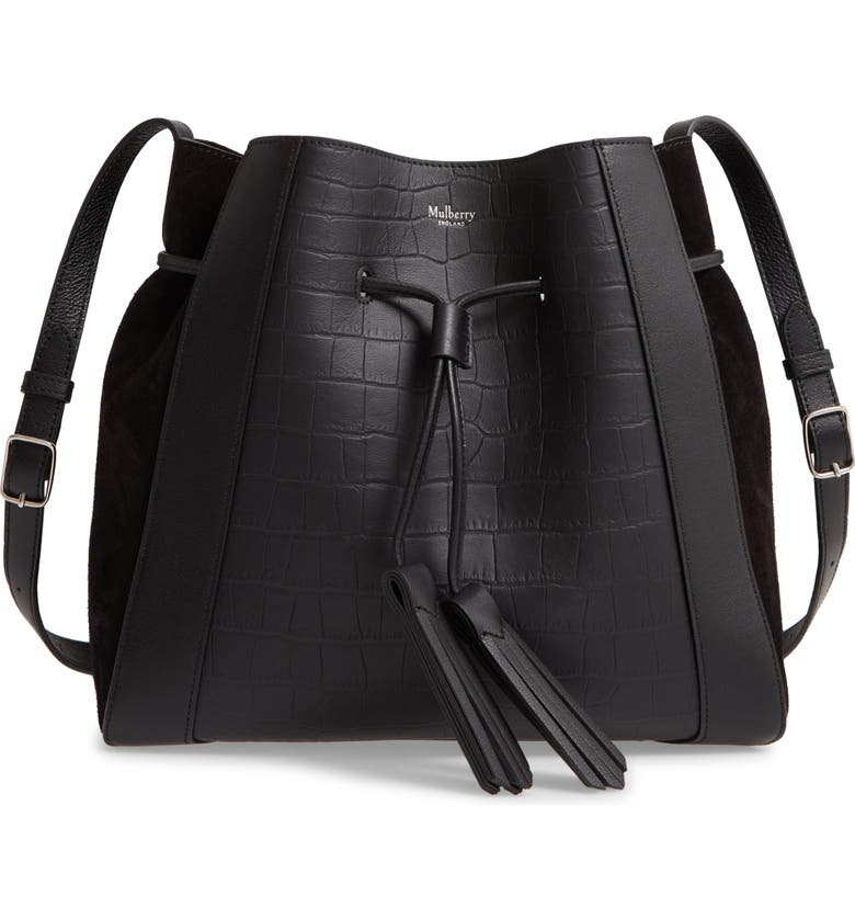 MULBERRY Small Millie Matte Croc Embossed Leather Tote, Main, color, BLACK