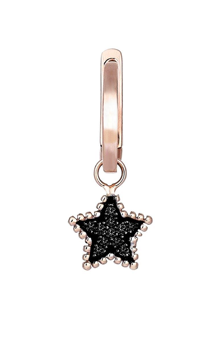 KISMET BY MILKA Black Diamond Star Hoop Earring, Main, color, 712