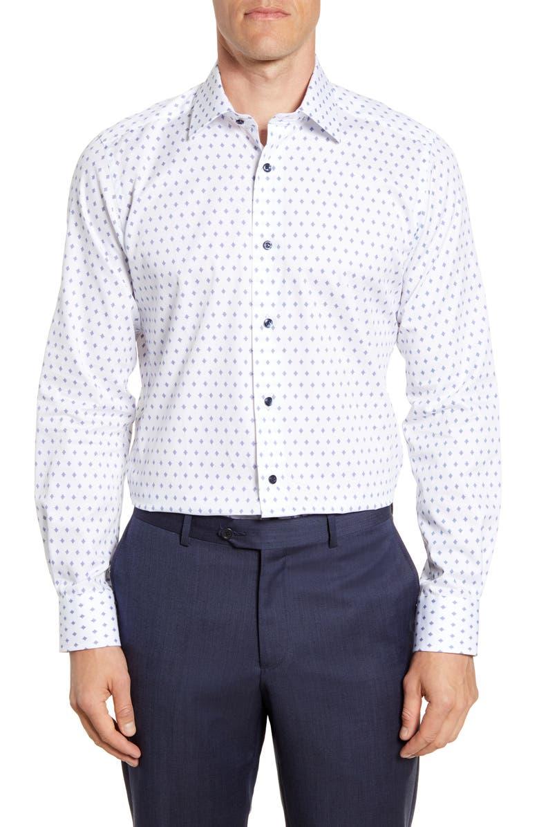 DAVID DONAHUE Trim Fit Geometric Dress Shirt, Main, color, WHITE/ NAVY