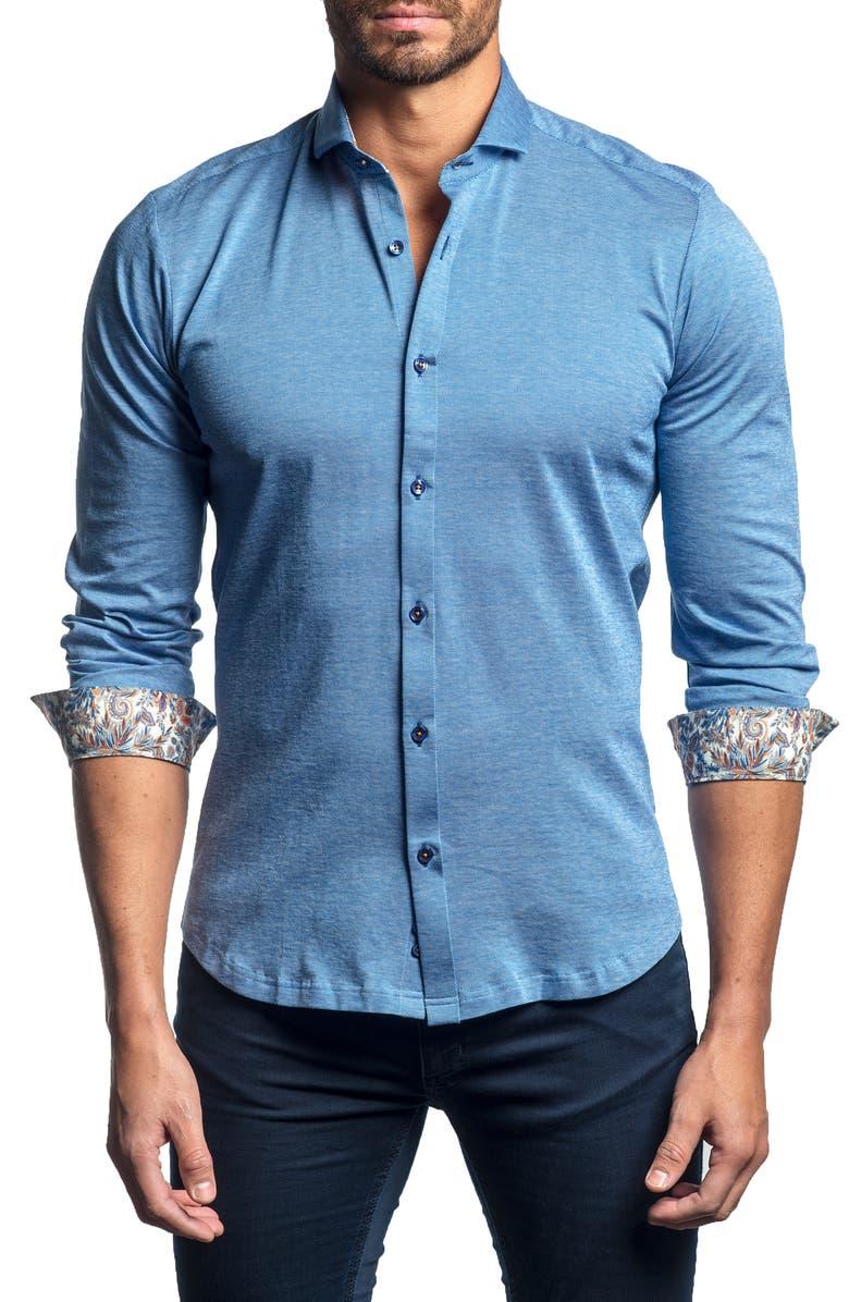 JARED LANG Slim Fit Button-Up Knit Sport Shirt, Main, color, BLUE KNIT
