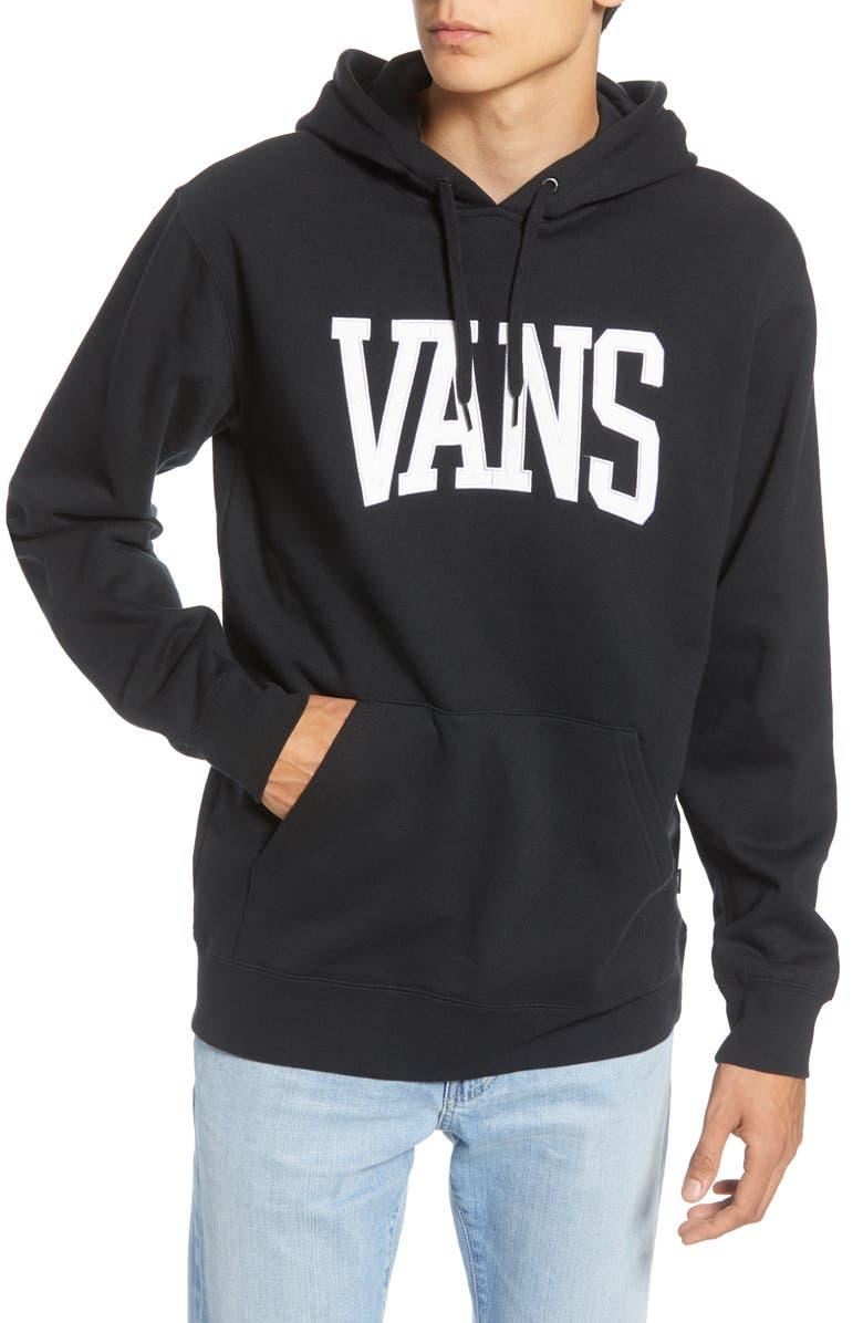 VANS Logo Appliqué Hooded Sweatshirt, Main, color, BLACK