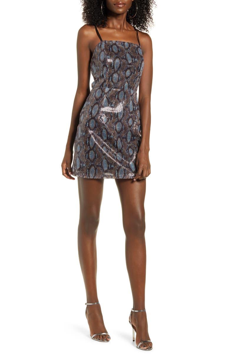 J.O.A. Lace-Up Back Sequin Minidress, Main, color, BLUE MULTI