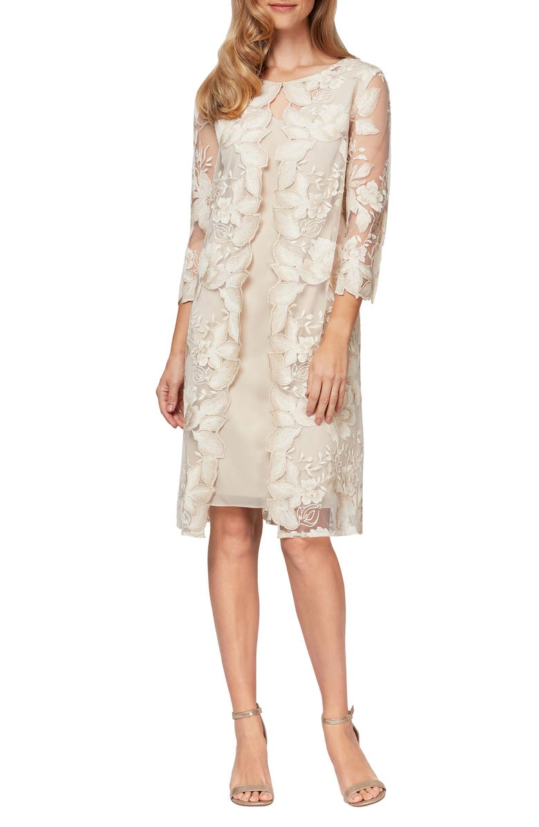 ALEX EVENINGS Embroidered Lace Mock Jacket Cocktail Dress, Main, color, CHAI/ IVORY