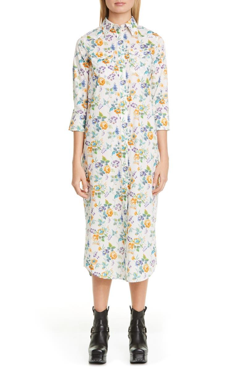 R13 Cowboy Floral Print Midi Shirtdress, Main, color, YORKSHIRE ROSE