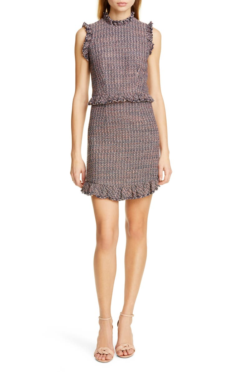 REBECCA TAYLOR Frayed Ruffle Tweed Dress, Main, color, 409