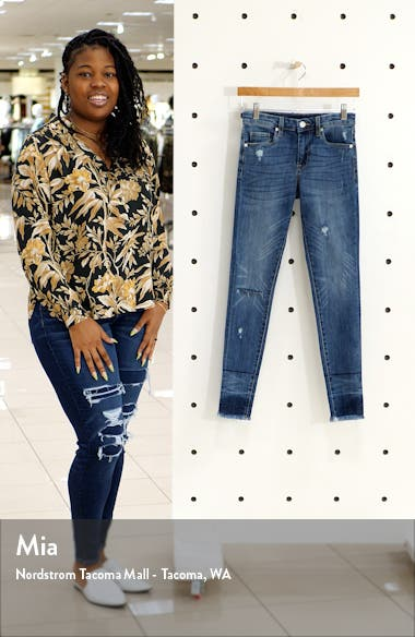 The Bond Distressed High Waist Ankle Skinny Jeans, sales video thumbnail