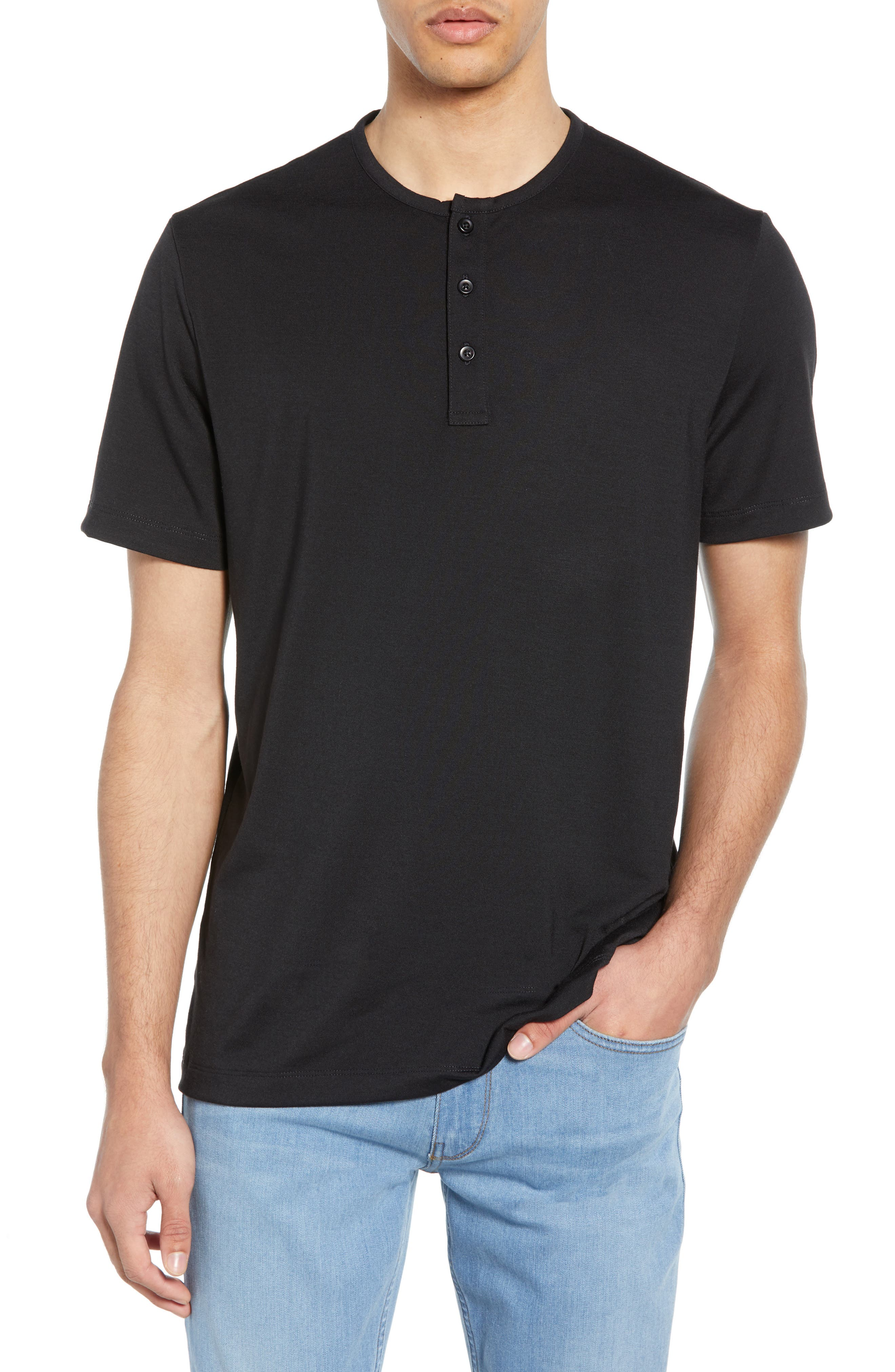 ,                             Solid Henley,                             Main thumbnail 1, color,                             BLACK