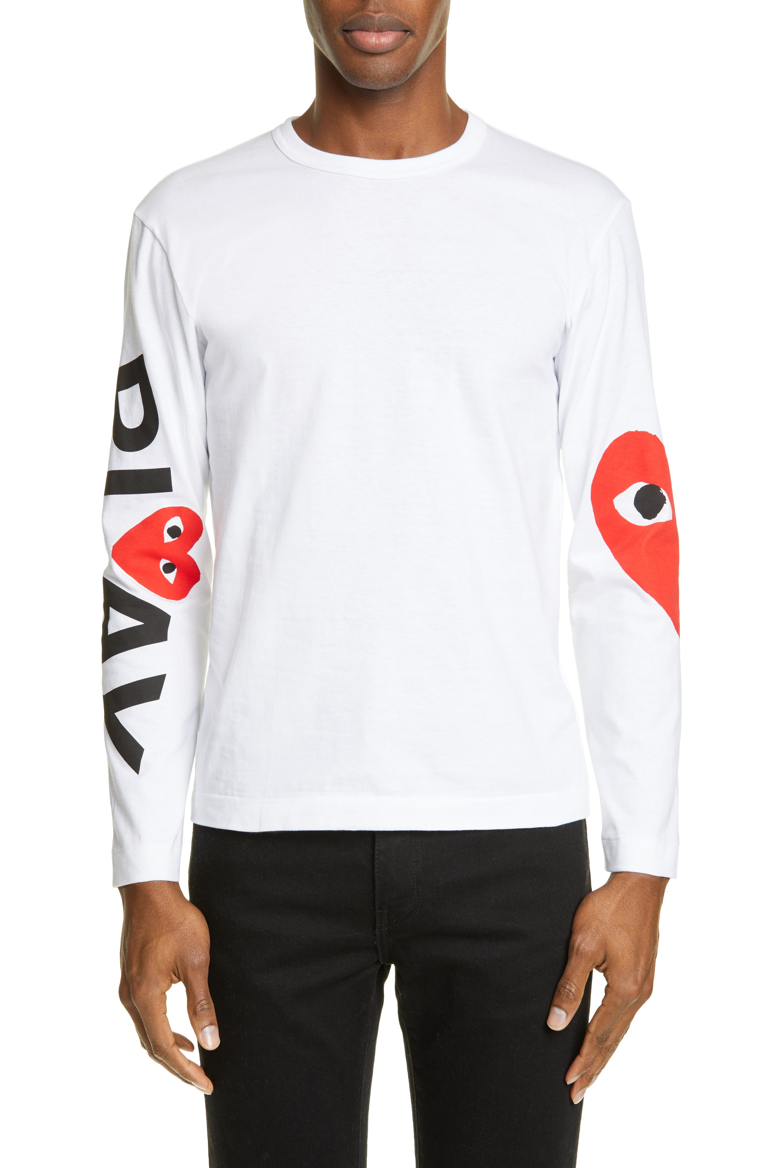 PLAY Logo Long Sleeve T-Shirt, Main, color, WHITE