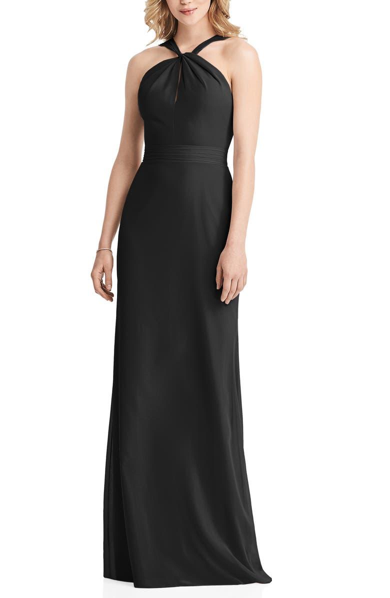 JENNY PACKHAM Twist Halter Neck Trumpet Gown, Main, color, BLACK