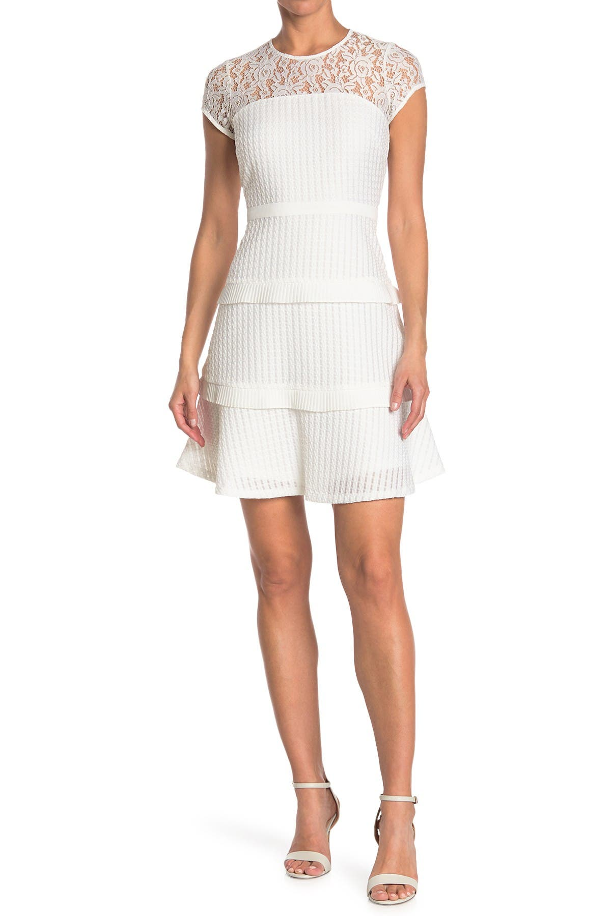 Image of Kensie Illusion Neck Tiered Ruffle Dress