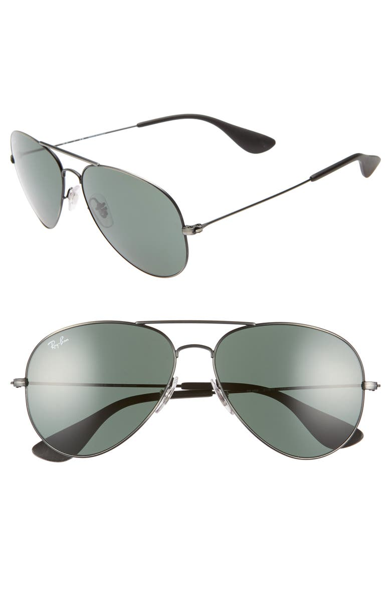 RAY-BAN Pilot 58mm Sunglasses, Main, color, MATTE BLACK