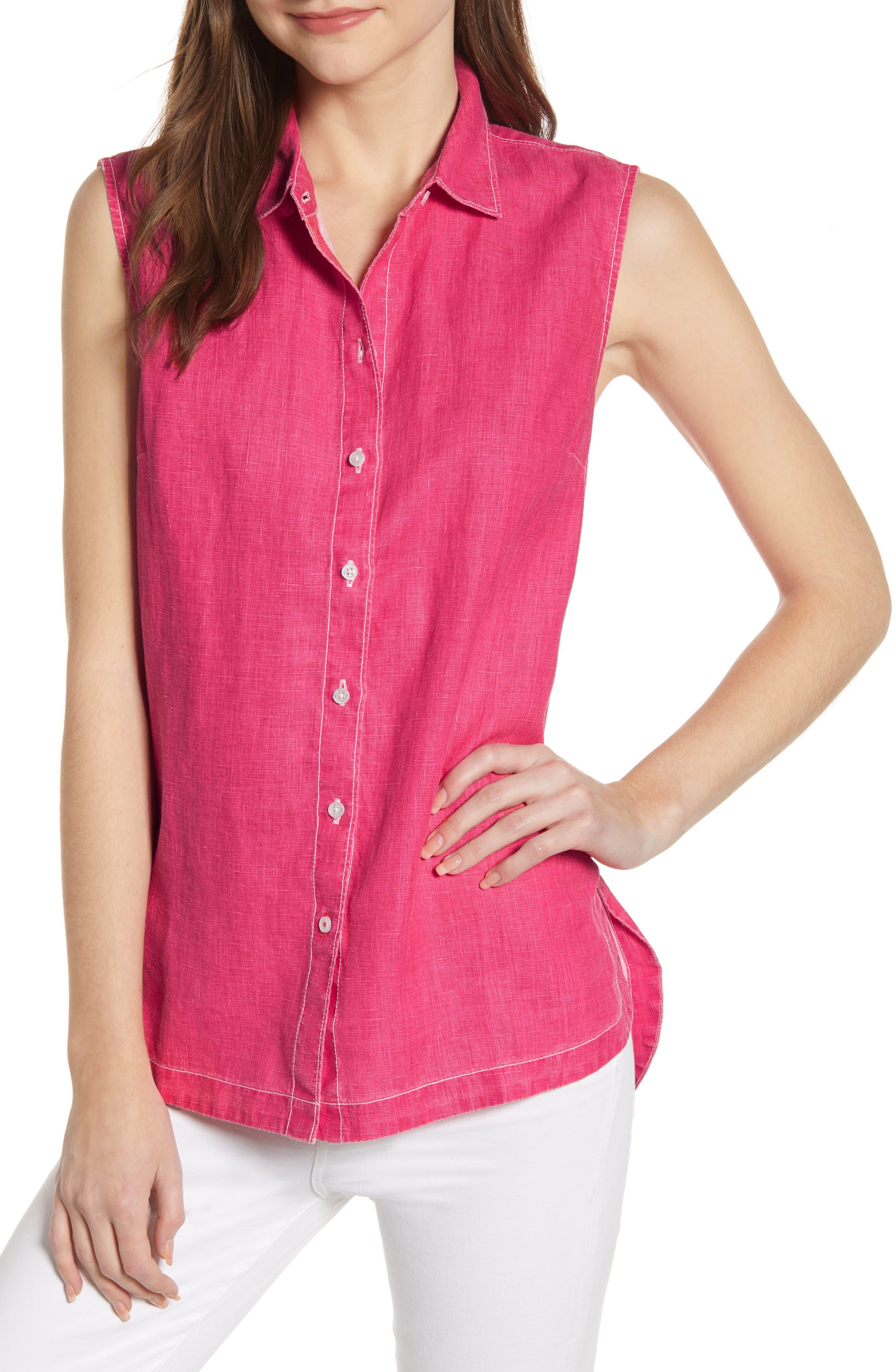 Tommy Bahama New Sea Glass Breezer Sleeveless Linen Shirt, Pink