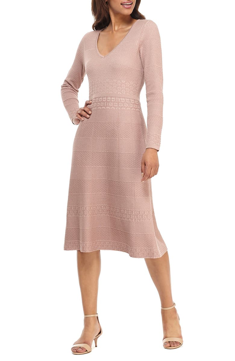 GAL MEETS GLAM COLLECTION Heidi Mixed Stitch Long Sleeve Sweater Dress, Main, color, BLUSH