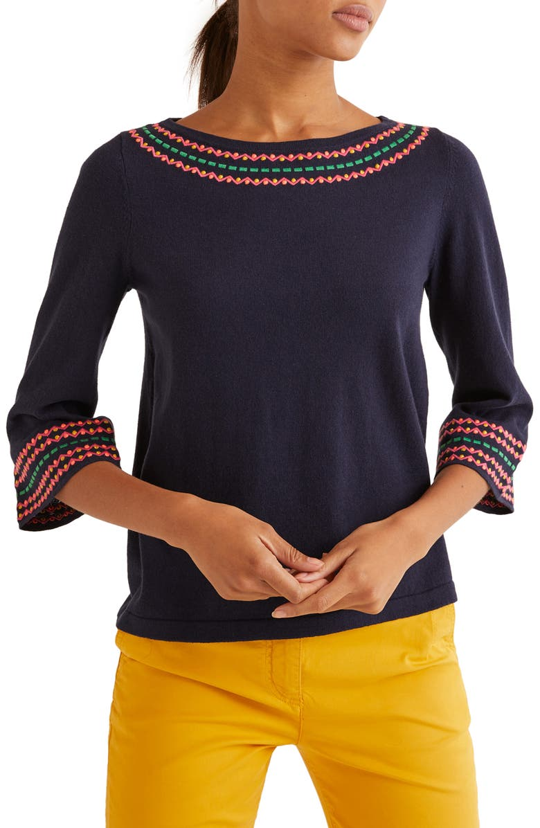 BODEN Monmouth Embroidered Sweater, Main, color, NAVY