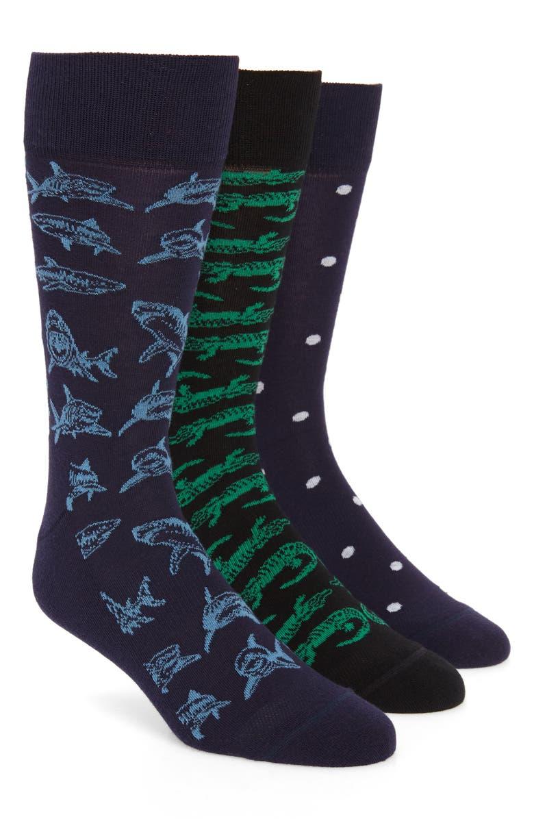 NORDSTROM MEN'S SHOP Predator Attack 3-Pack Socks, Main, color, NAVY/ BLACK
