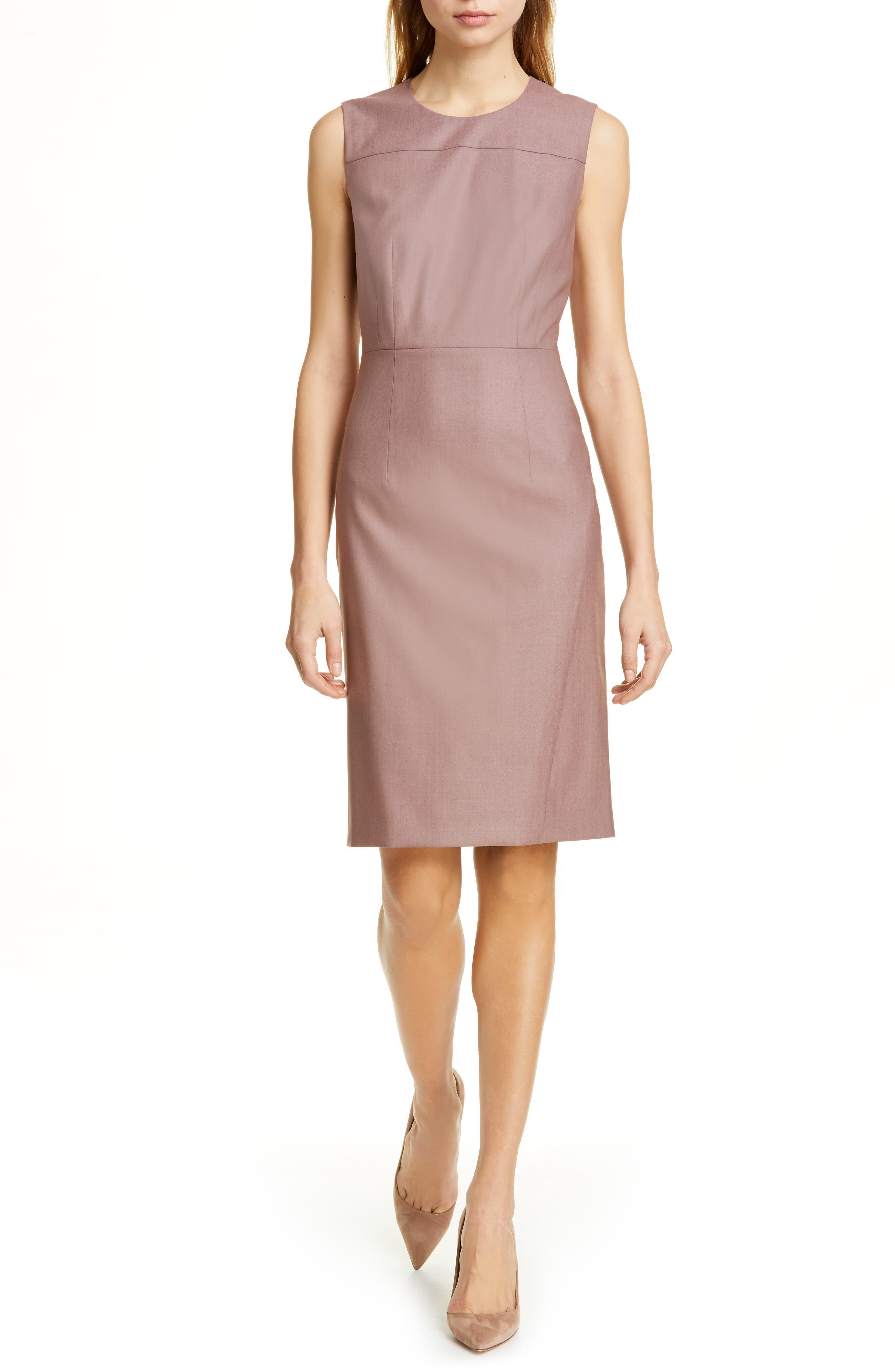 Boss Doreli Wool Seamed Detail Dress, Purple