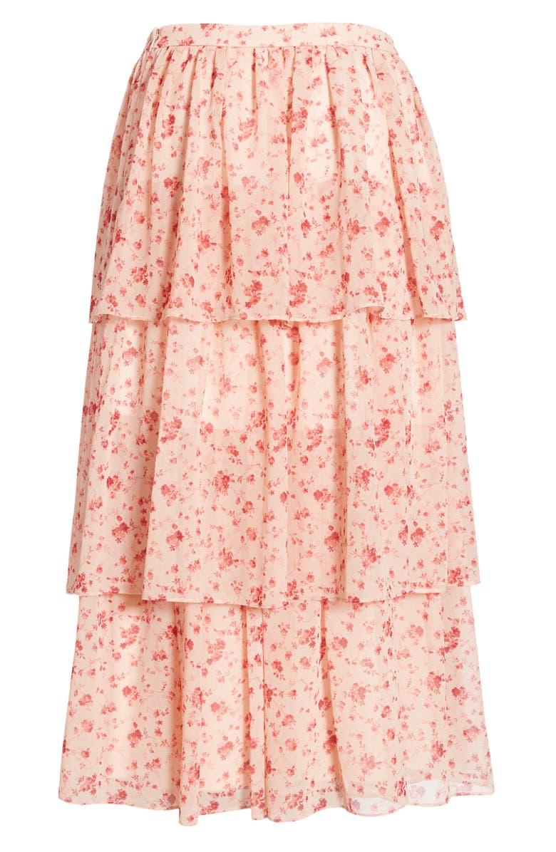 RACHEL PARCELL Print Tiered Ruffle Skirt, Alternate, color, PINK SMOKE ROSE VINE