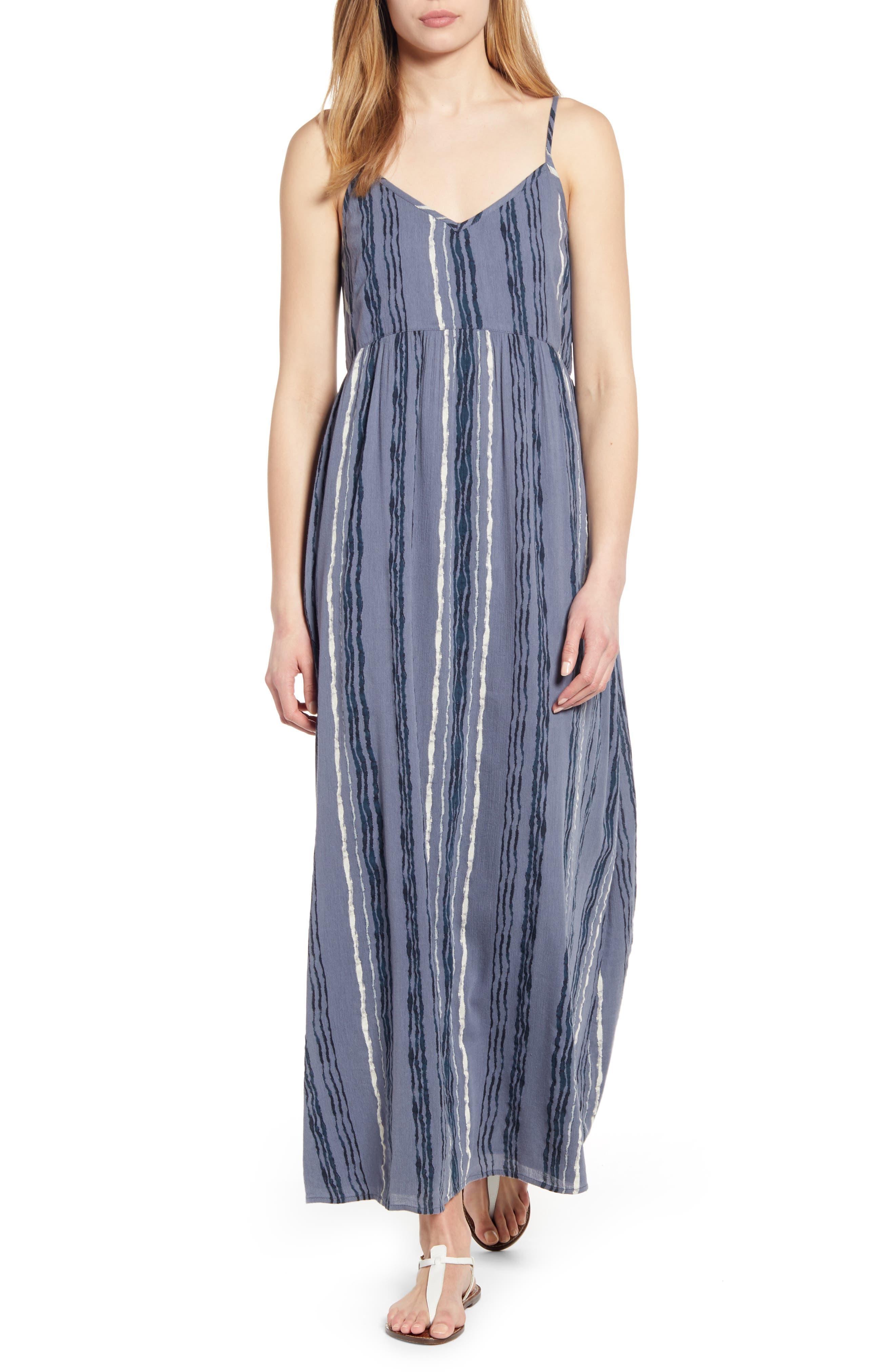 Petite Caslon Print Slip Maxi Dress, Blue