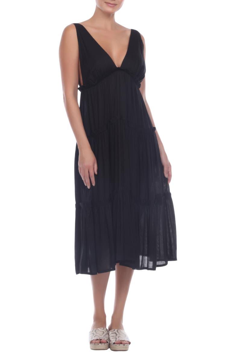 BOHO ME Tiered Midi Dress, Main, color, BLACK
