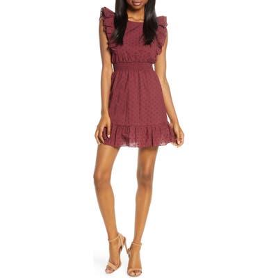 Bb Dakota Smocked Waist Minidress, Burgundy
