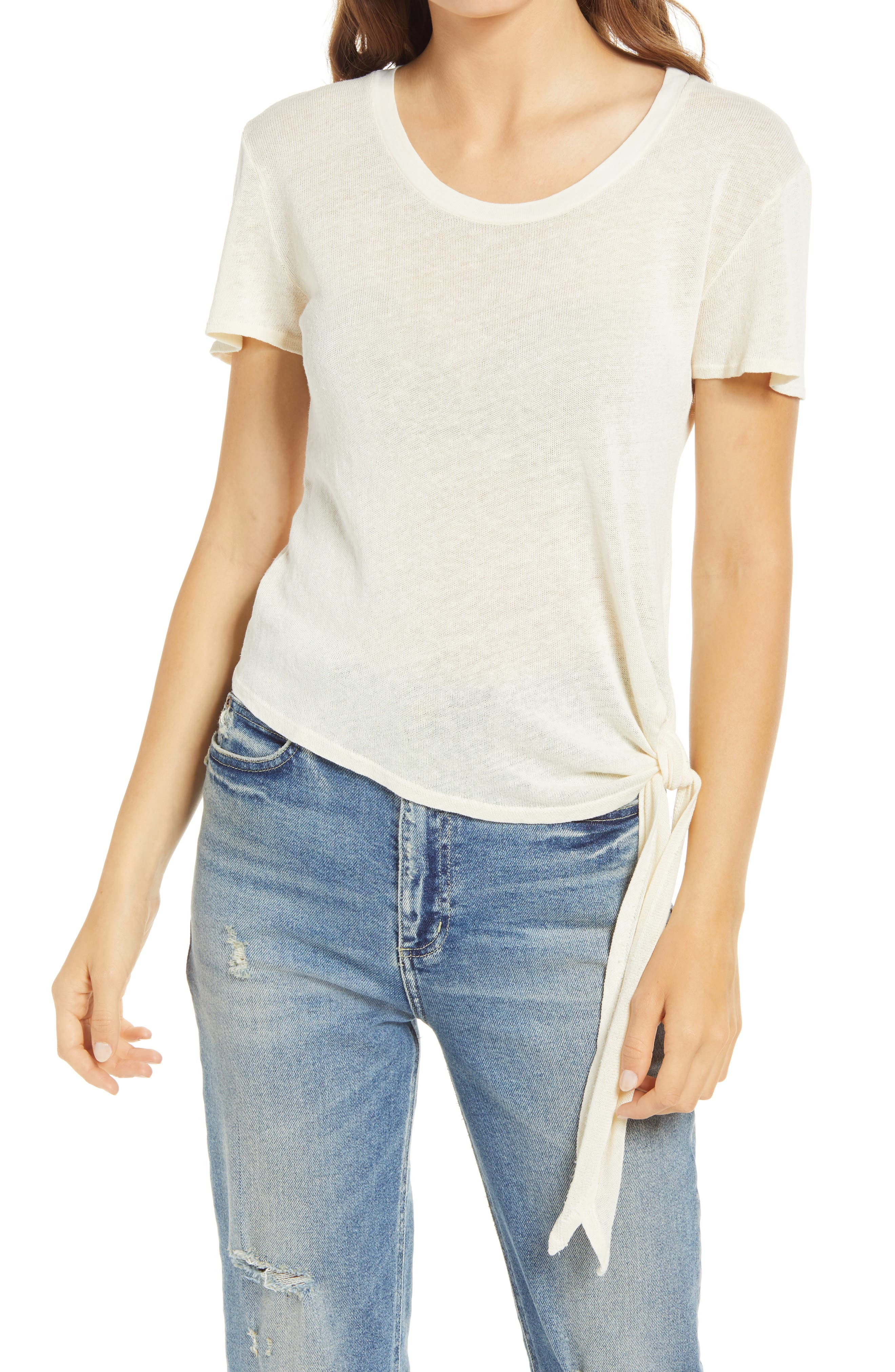 Faherty Hazel Tie Hem Organic Cotton Blend T-Shirt | Nordstrom