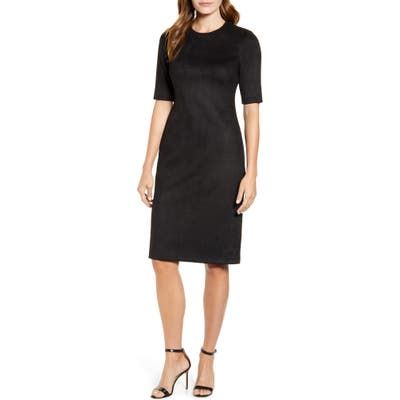Anne Klein Faux Suede Sheath Dress, Black
