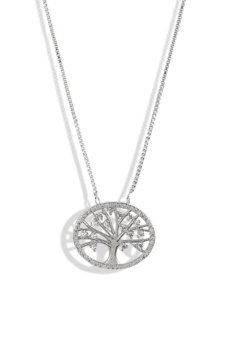 TEN79LA Tree Pendant Necklace, Main, color, SILVER