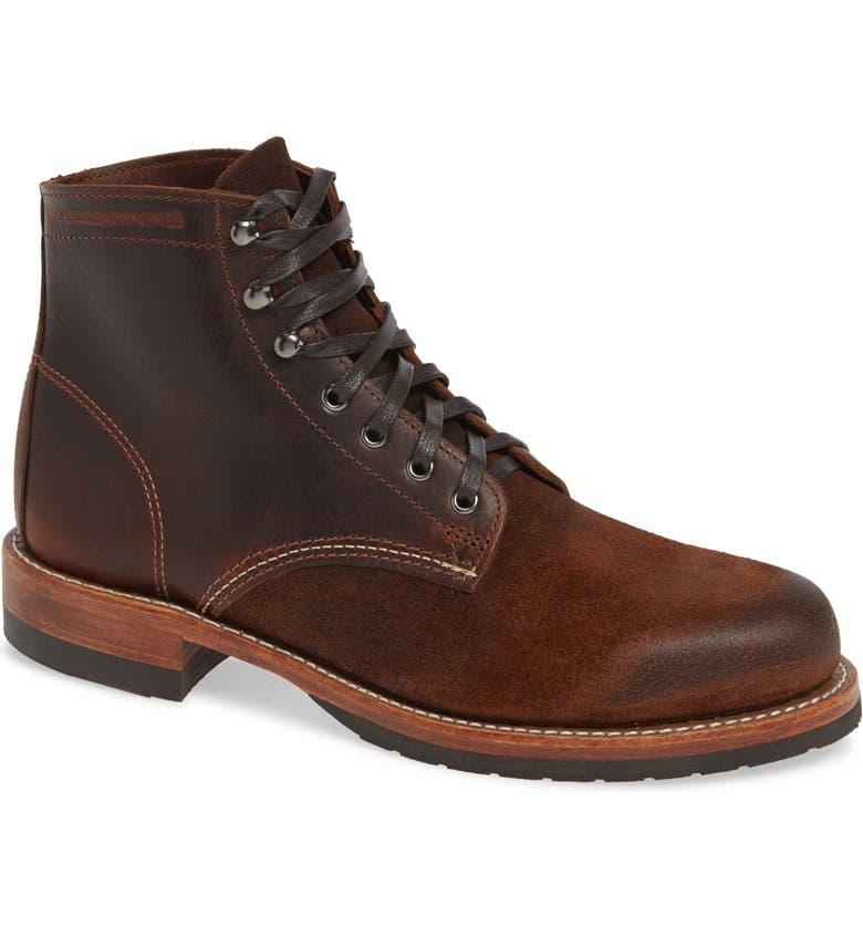WOLVERINE 1000 Mile Evans Plain Toe Boot, Main, color, DARK BROWN LEATHER/ SUEDE