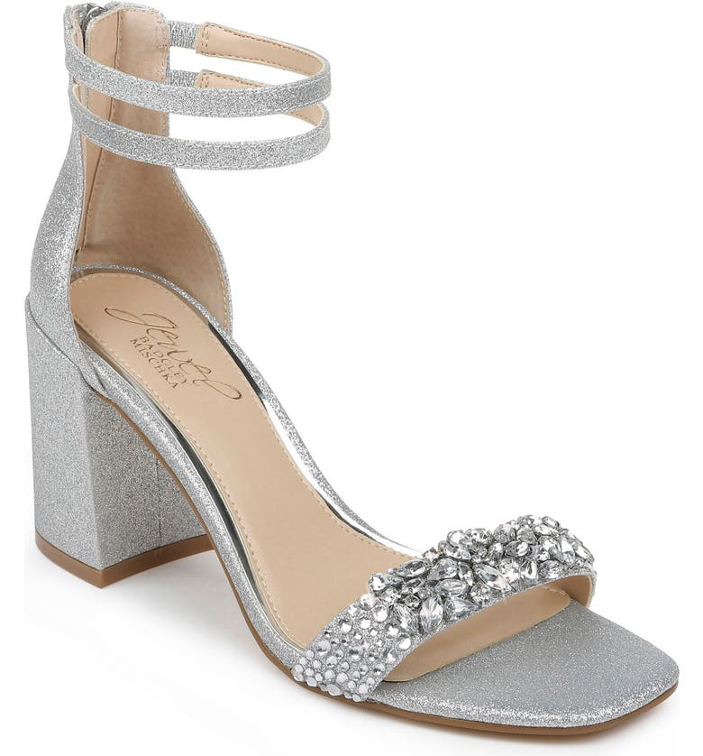 JEWEL BADGLEY MISCHKA Natala Ankle Strap Sandal, Main, color, SILVER/ CLEAR