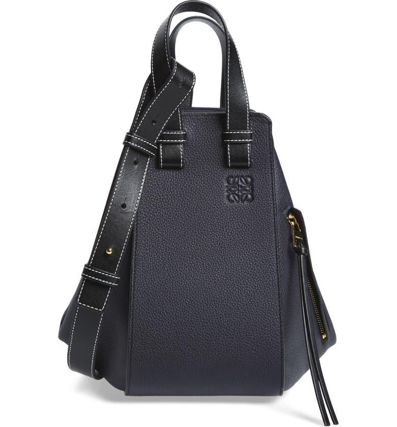 LOEWE Hammock Small Pebbled Leather Hobo, Main, color, MIDNIGHT BLUE/ BLACK