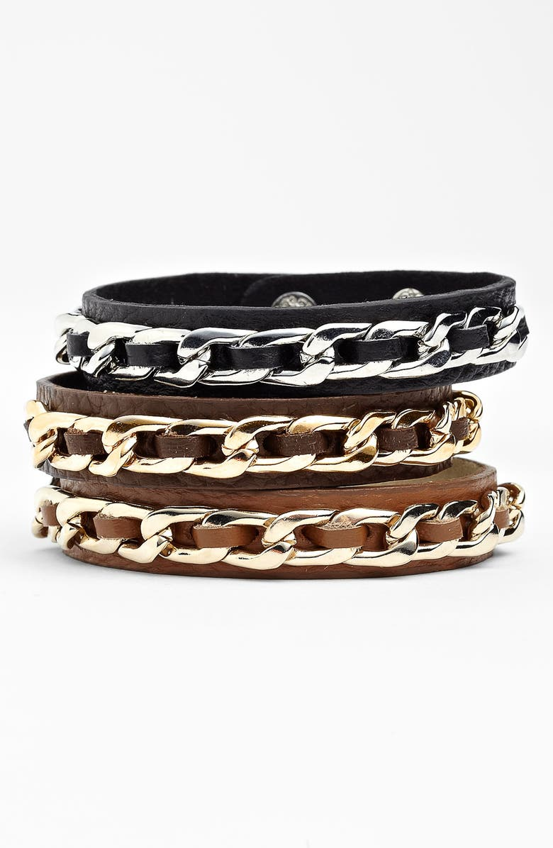 CARA Accessories Leather & Chain Link Wrap Bracelet, Main, color, 001