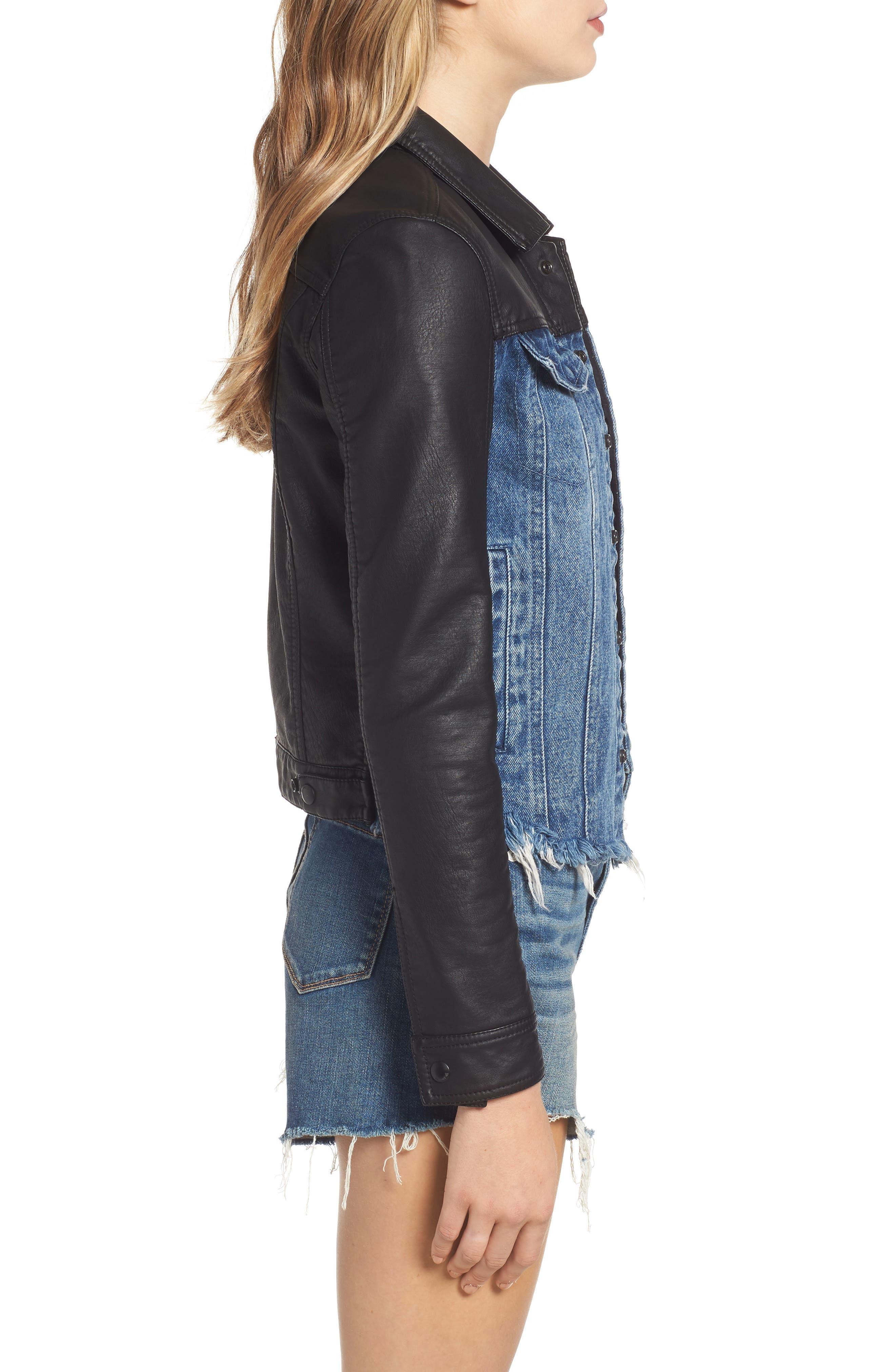 ,                             Faux Leather & Denim Jacket,                             Alternate thumbnail 6, color,                             001